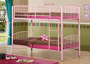 Birlea Corfu 3ft Single Metal Bunk Bed, Pink