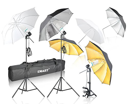 Emart 1575W 5500K Photo Studio Day Light Umbrella Continuous Lighting Kit (Translucent White & Black/silver & Black/Gold) for Photography (Umbrella Foto compare prices)