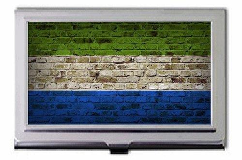 Sierra Leone Flagge: Ziegelmauer Business Card Holder hier kaufen