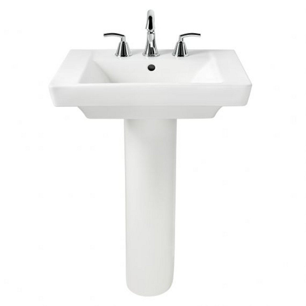 ... Standard: Modern White Pedestal Sink Ideal for Small Bathrooms