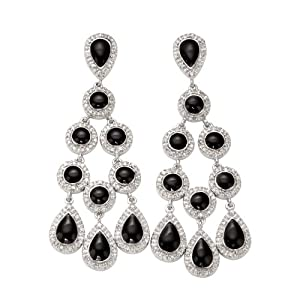 Click to buy Sterling Silver Diamond and Black Enamel Dangle Earrings from Amazon!