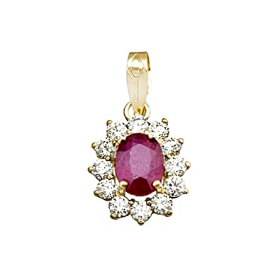 18k gold pendant 8x6mm oval stone ruby ??center. zircons [AA4810]