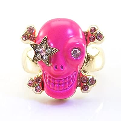 DaisyJewel Size 6 Pretty Hot Pink Skull Ring: This Betsey Johnson Inspired Skull Has One Round Crystal Eye and One Glam Punk Rock Star Pave Crystal Eye with Cute Pink Center Gem on a Happy Looking Magenta Enameled Skull. Backing This Spunky Skull Is Rose