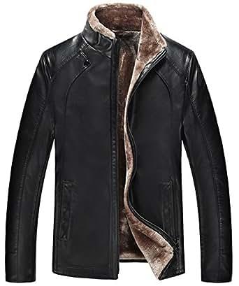 SZYYSD Mens Winter Warm Sheep Skin Leather Coat Jacket