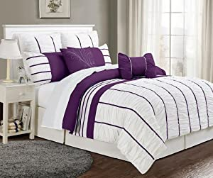 8 Piece Cal King Villa Purple And White