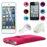 "Skque Pink Soft Velvet 5"" Pouch Bag Case Sleeve + Clear LCD Screen Protector + USB 1000mAh Home/Travel Wall Charger + Rapid Car Charger + 6 Pcs Bling Diamond Crystal Style Home Button Sticker for Apple iPod Touch 5th Generation"