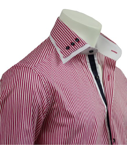 Italian Design Double Collar Men's Formal Casual Shirts Fuchsia Strips Slim Fit