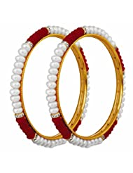 Nisa Pearls White And Red Pearls Combination Bangle For Women