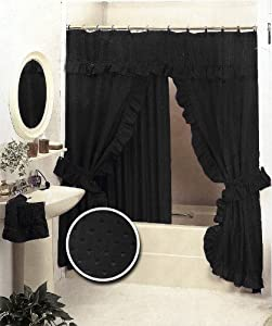 Amazon.com - Black Double Swag Fabric Shower Curtain Set Valance -