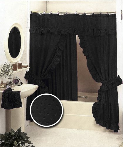 Save On Black Double Swag Fabric Shower Curtain Set Valance For Sale