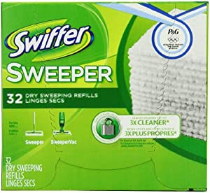 Swiffer Sweeper Dry Sweeping Cloths, Mop and Broom Floor Cleaner Refills Unscented, 32-Count (Pack of 3) (Packaging May Vary)