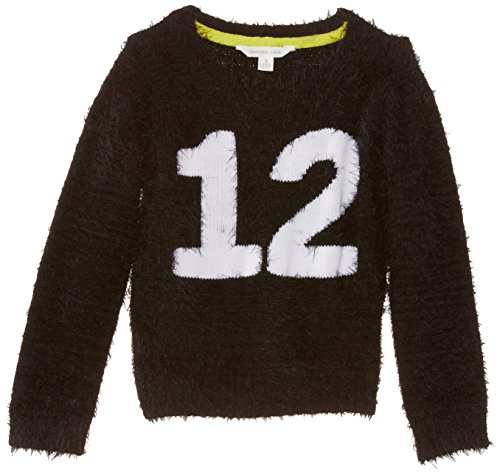 Pumpkin Patch Big Girls' Number 12 Fluffy Jumper, Black, 7