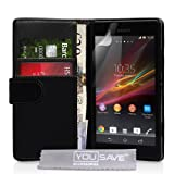 Yousave Accessories PU Leather Wallet Cover Case for Sony Xperia SP - Blackby Yousave Accessories