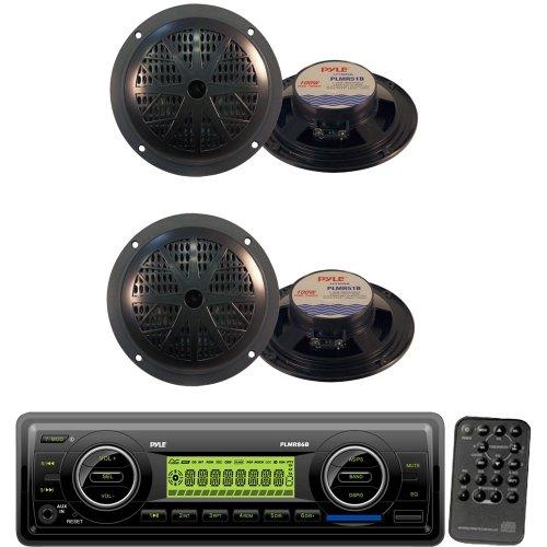 Pyle Marine Radio Receiver and Speaker Package - PLMR86B AM/FM-MPX Electronic Tunning Radio w/USB/SD/MMC - 2x PLMR51B 2 Pairs of 100 Watt 5.25'' 2 Way Black Marine Waterproof Speakers