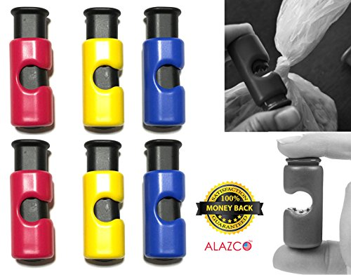 Premium Quality ALAZCO Bag Clips - 6pc Value Set Food Fruit Bread Bag Cinch Non-Slip Grip EASY Squeeze & Lock (Cinch Clip compare prices)
