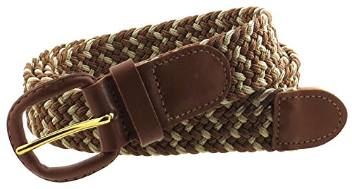 Braided Elastic Woven Stretch Multi-Color Belt Leather Buckle and Tip (Brown/Beige-XL))