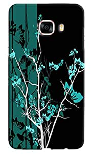 Omnam Black And Green Gardern Effect Printed Designer Back Cover Case For Samsung Galaxy C7
