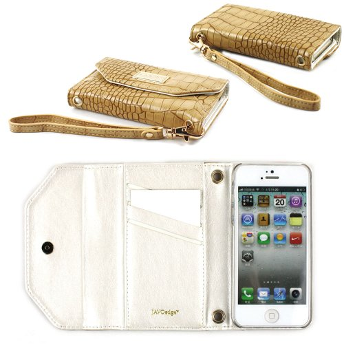 Great Sale JAVOedge Croc Clutch Wallet Case with Wristlet for the Apple iPhone 5s, iPhone 5 (Brown)