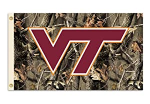 NCAA Virginia Tech Hokies 3-by-5 Foot Flag with Grommets - Realtree Camo Background by BSI