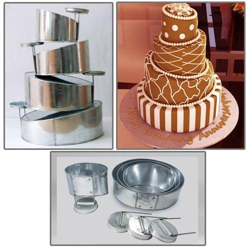 Euro Tins Multi Layer Cake Pans Mini Topsy Turvy Round 4 Tier Wedding Cake Pan - Cake Tin Set with Detachable Stand (Mini Wedding Cake Pans compare prices)