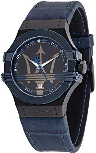 MASERATI POTENZA Collection - R8851108007 - Reloj de caballero analógico (Acero inoxidable y Piel, Sumergible, Calendario) Azul