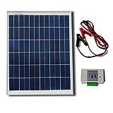 ECO-WORTHY 20 Watt 12 Volt Komplettset Solarmodule Off Grid Bausatz 3A Laderegler - Photovoltaik Solarpanel - Camping - Ideal zum Aufladen von 12V Batterien