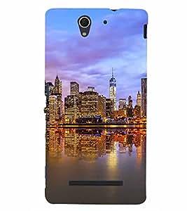 PrintVisa Travel City 3D Hard Polycarbonate Designer Back Case Cover for Sony Xperia C3 Dual