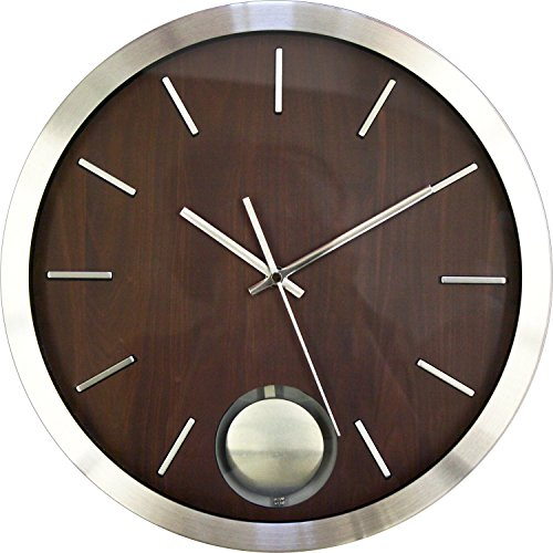 Ashton Sutton CX1451 Round QA Metal Pendulum Wall Clock, 14-Inch