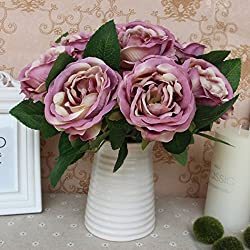 SSWQ Single Branch Fake Rose Artificial Flowers Plants Silk Flowers Home Wedding Party Decor Romantic Night Rose 5 Color from SSWQ