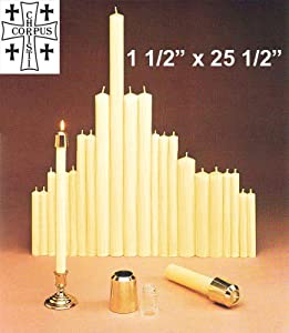 "1 1/2"" X 25 1/2"" 51% Beeswax Altar Candles - All Purpose End"