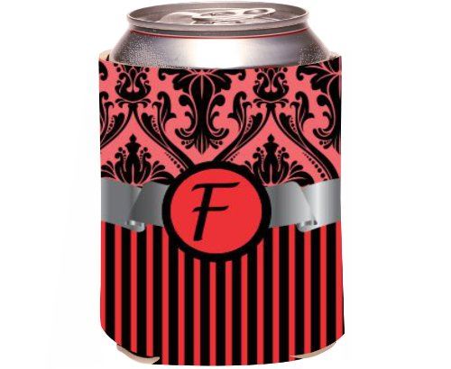 "Rikki Knight Beer Can Soda Drinks Cooler Koozie, Letter ""F"" Initial Monogrammed Design, Damask And Stripes, Red front-646961"
