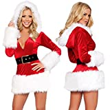 Kinghard Ladies Sexy Santa Costume Women Mrs Christmas Party Fancy Two Parts Dress Cosplay Suit (White)