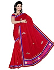 Alethia Red Georgette Casual Embroidered Sarees With Unstitched Blouse