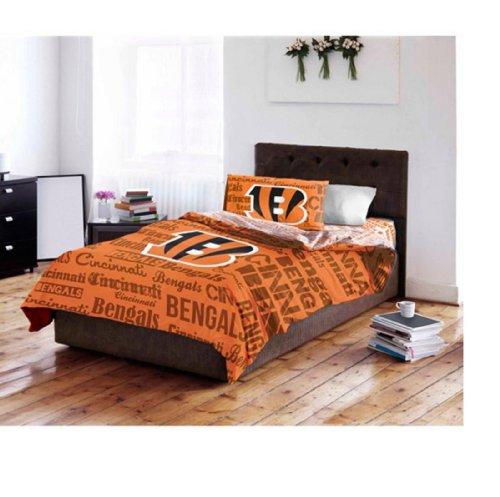 Cincinnati Bengals Twin Comforter & Sheets (4 Piece Nfl Bedding)