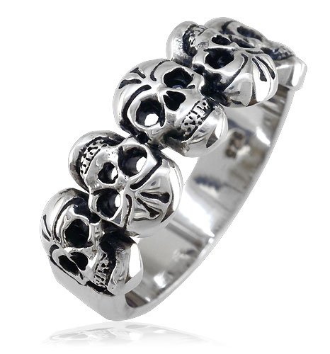Skull+Band+5+Alternating+Skulls+9.5mm+Sterling+Silver+-+size+4.5