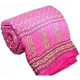 Ayushi Craft & Fashions Single Designer Pink Jaipuri Cotton Quilt