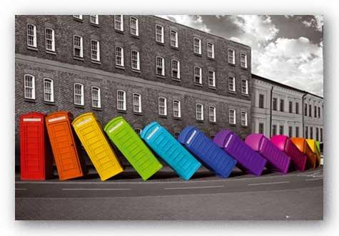 Falling Phone Boxes Rainbow London Art Print Poster - 24x36