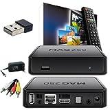MAG 250 IPTV SET TOP BOX Multimedia Player Internet TV IP Receiver + HB Digital Wlan Stick