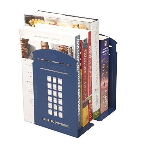 Winterworm Vintage Fashion British Style London Telephone Booth Kiosk Decorative Iron Metal Bookends Book End Book Organizer For Library School Office Desk Study Home Decoration Gift (Blue)