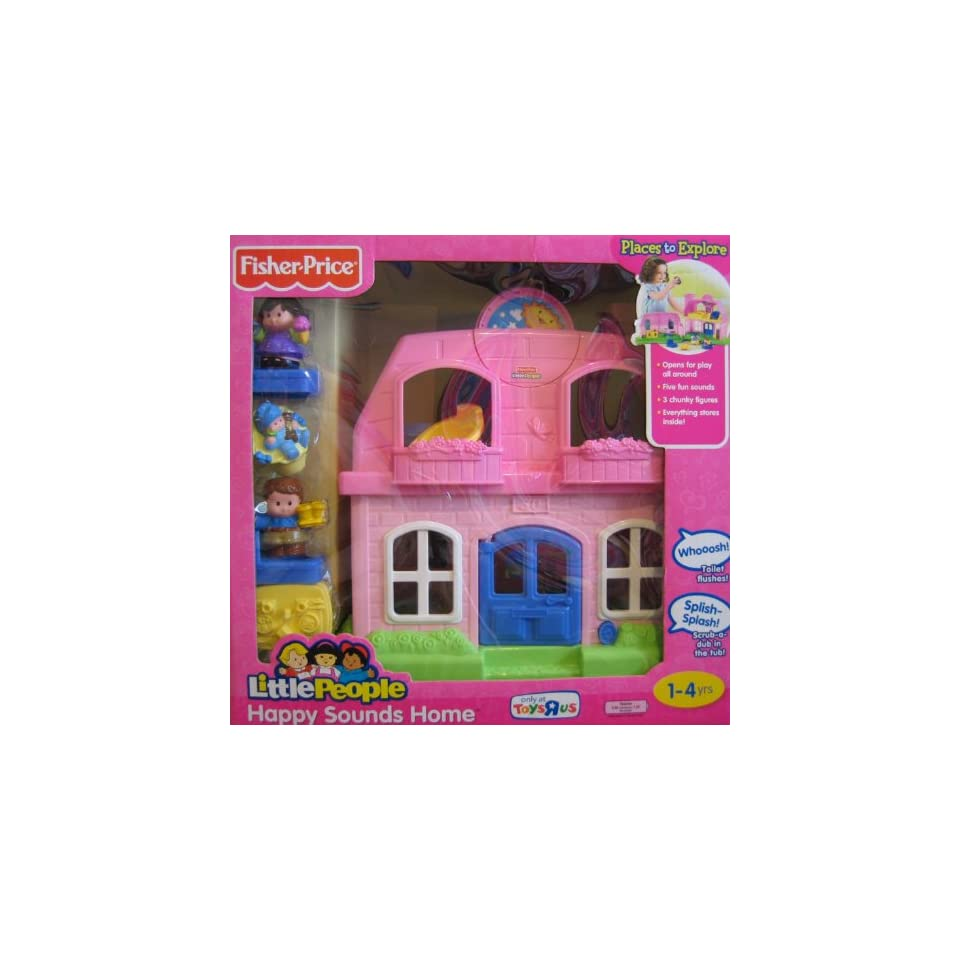Fisher Price Little People Happy Sounds Home (PINK) w Sounds & 3 Figures    Exclusive (2009)