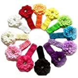 """QS® Baby Girl 14"""" Headbands with Peony Flower (Pack of 12)"""