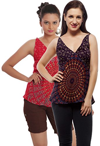 Set of 2 Indi Bargain Rayon Mandala Hand Block Soft Rayon Beachwear Top (204PurpleRed)