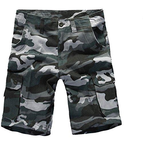 Voguehive da uomo, stile militare, mimetica da lavoro Cargo Combat-Pantaloncini sportivi Blue Camon XS
