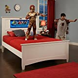 LightHeaded Beds Canterbury Full Bed with back-lit LED Headboard Imagery - White