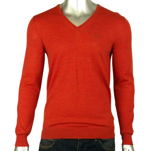 Mens Ben Sherman Merino Wool Orange Classic V Neck Jumper Mod Retro Sweater M