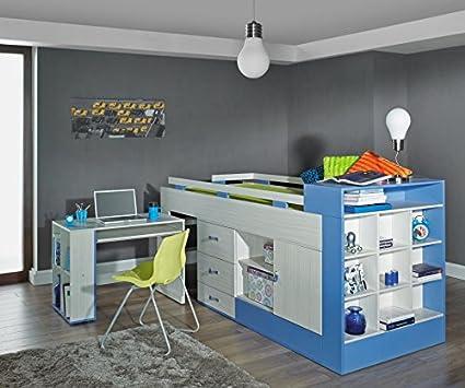 """Kinderbett / Hochbett mit Bettkasten und Schreibtisch """"Felipe"""" 16, Blau / Weiß - Liegefläche: 90 x 200 cm"""