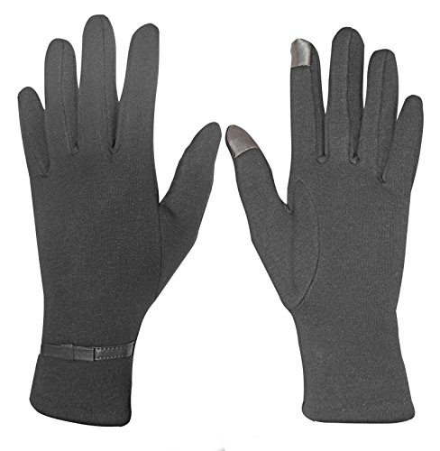 Peach Couture Womens Touch Screen Fleece Lined Belted Winter Gloves Warm Wear Belted Dark Grey