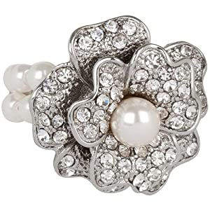 Stunning Elegant Crystal and Faux Pearl Rose Ring Stretches to Fit Sizes 6 - 12