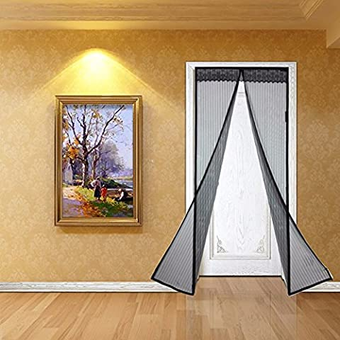Black Hands Free Magic Mesh Screen Net Door with magnets Anti Mosquito Bug Curtain 100 x 210CM Magnetic Mosquito Net