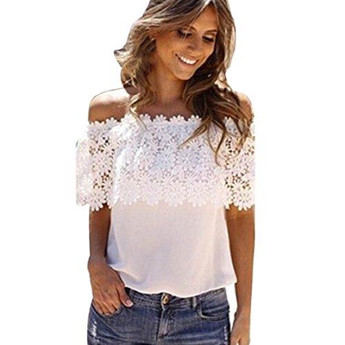 Culater® Moda Donna Fuori Spalla Supera La Camicia Crochet Chiffon Camicetta Di Pizzo (M)